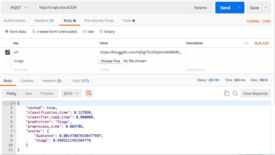 Postman with both URL and image keys